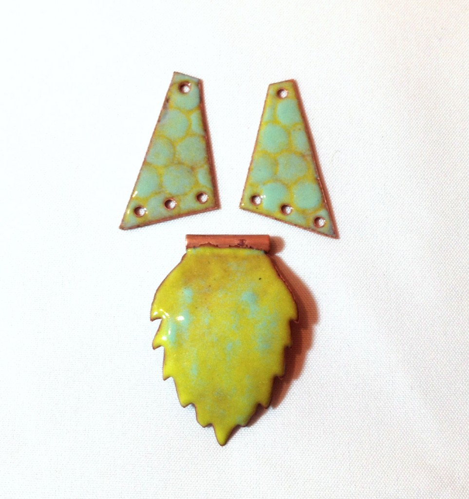 Enameled Earrings and Pendant