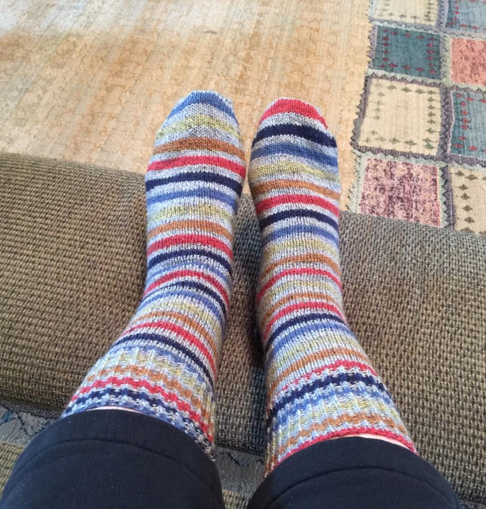 Blue Stripe Ragg Socks - Patons Kroy